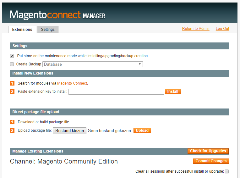 The Magento connect manager